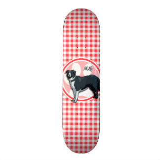 Border Collie; Red and White Gingham Skateboard Deck