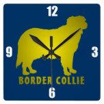 Border collie reloj cuadrado