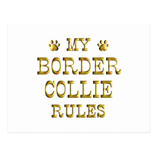 Border Collie Rules Gold Postcard