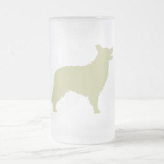 Border Collie (sage green) Frosted Glass Beer Mug