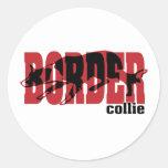 Border Collie silhouette Classic Round Sticker