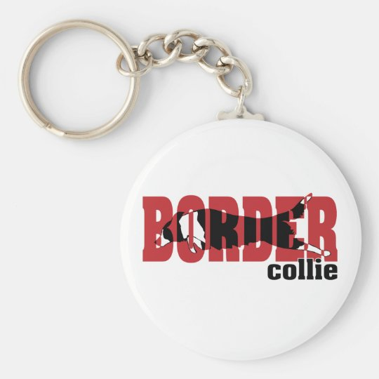 Border Collie silhouette, jumping Keychain