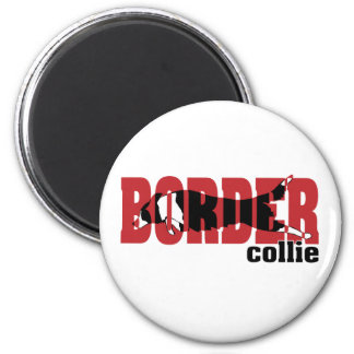 Border Collie silhouette jumping Magnets