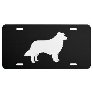 Border Collie Silhouette License Plate