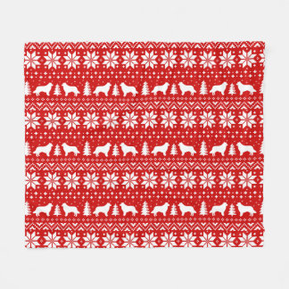 Border Collie Silhouettes Christmas Pattern Fleece Blanket
