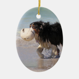 Border Collie - Soccer Anyone? Double-Sided Oval Ceramic Christmas Ornament