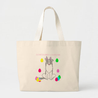 Border Collie Somebunny Loves Me Jumbo Tote Bag