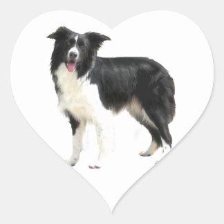 Border Collie (standing) Heart Sticker