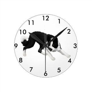Border Collie Stare Round Clock