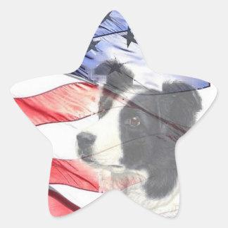 Border Collie Sticker~Memorial Day Star Sticker