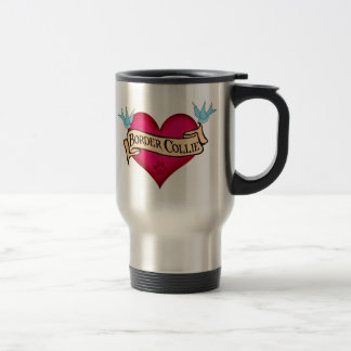 Border Collie Tattoo Heart Travel Mug