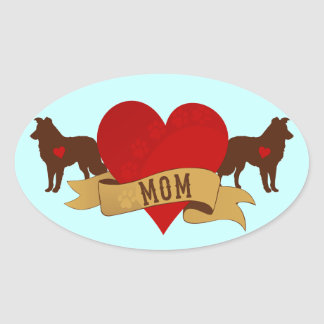 Border Collie Tattoo style Oval Stickers