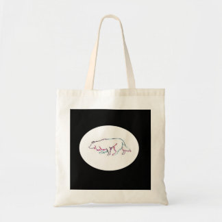Border Collie Tote~Neon Herding Silhouette Tote Bag