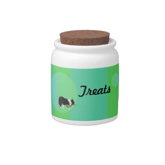 Border Collie Treat Jar Candy Dishes