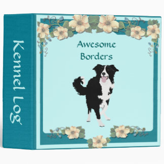 Border Collie, Turquoise Floral Binder
