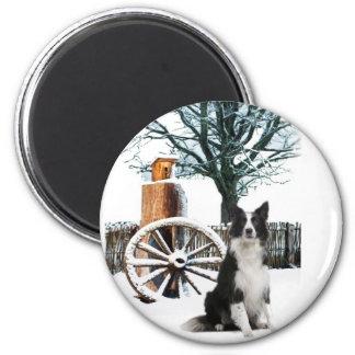 Border Collie wagon wheel winter scene 2 Inch Round Magnet
