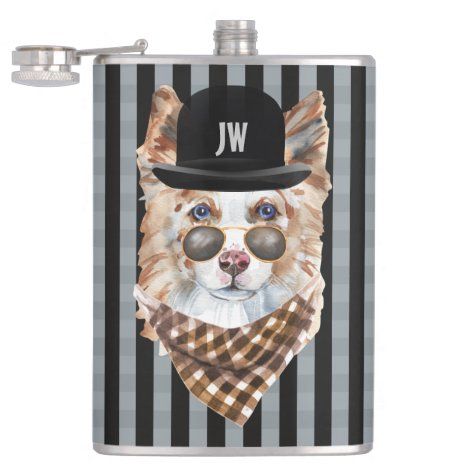 Border collie wearing bowler hat glasses scarf flask