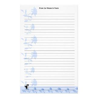 Border Collie with Blue Flowers (lined) Stationery