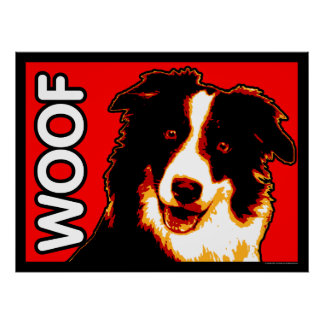 Border Collie WOOF Poster
