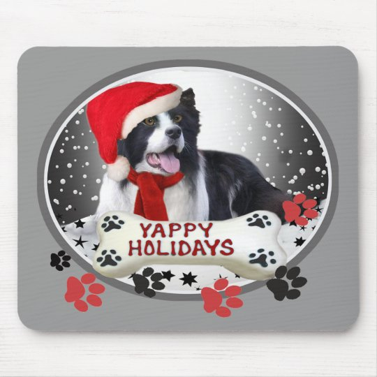 Border Collie Yappy Holidays gifts Mouse Pad