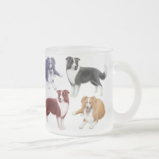 Border Collies Frosted Glass Mug