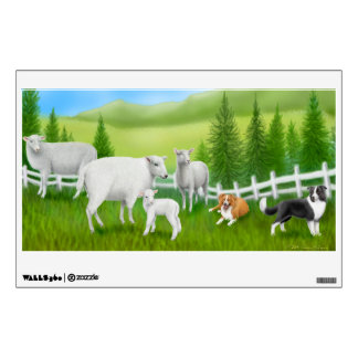 Border Collies Herding Sheep Wall Decal