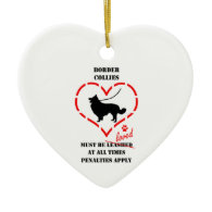 Border Collies Must Be Loved Christmas Ornaments