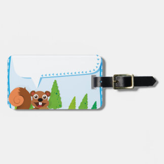Border design squirrel and acorn bag tag