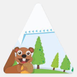Border design squirrel and acorn triangle sticker