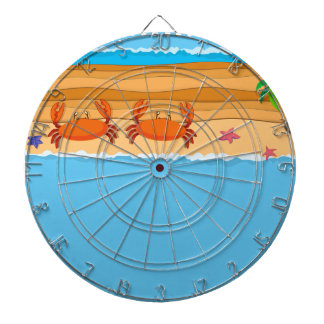Border design with crabs on the beach dart board