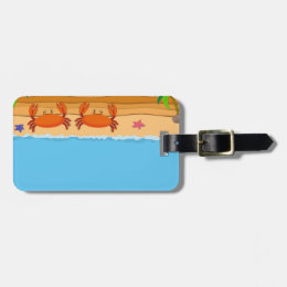 Border design with crabs on the beach luggage tag