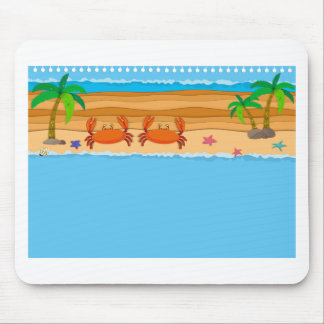 Border design with crabs on the beach mouse pad