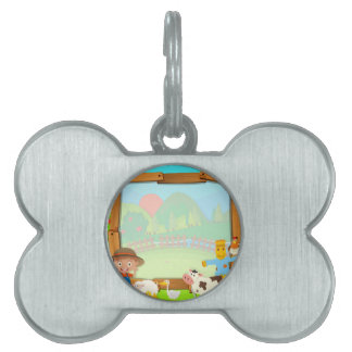Border design with farmer and animals pet ID tag