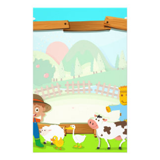 Border design with farmer and animals stationery