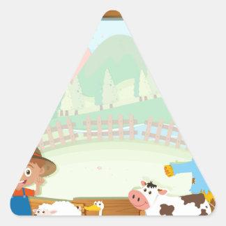 Border design with farmer and animals triangle sticker