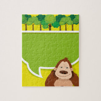 Border design with gorila and trees jigsaw puzzle