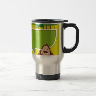 Border design with gorila and trees travel mug