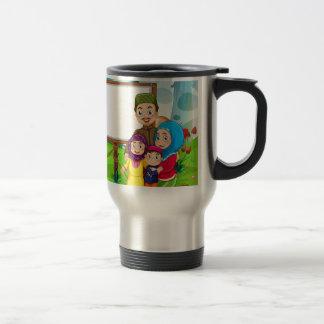 Border design with muslim family travel mug