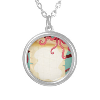 Border design with octopus round pendant necklace
