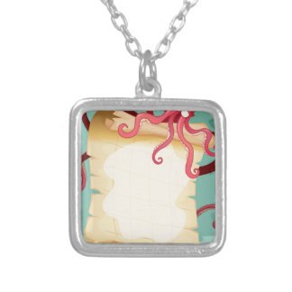 Border design with octopus square pendant necklace