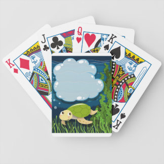 Border design with turtle underwater bicycle playing cards