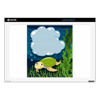 Border design with turtle underwater decals for laptops