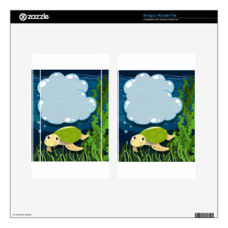 Border design with turtle underwater kindle fire decals
