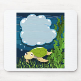 Border design with turtle underwater mouse pad