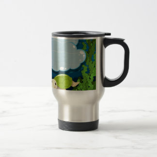 Border design with turtle underwater travel mug