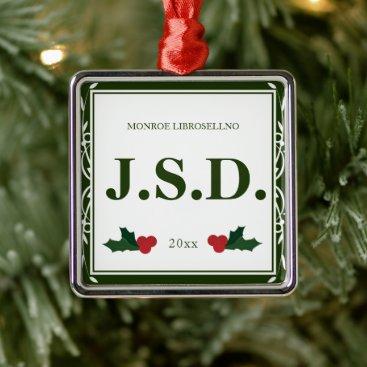 Border Green White Holly Name JSD Law Graduation Metal Ornament