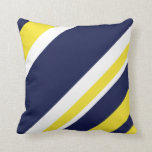 Border Hugging Blue and Gold Throw Pillow