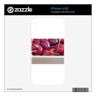 Border of fresh cherries on wooden background decal for iPhone 4