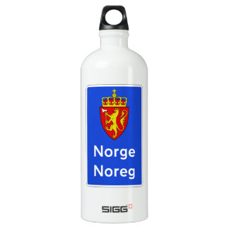 Border Sign, Traffic Sign, Norway Aluminum Water Bottle