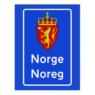 Border Sign, Traffic Sign, Norway Postcard